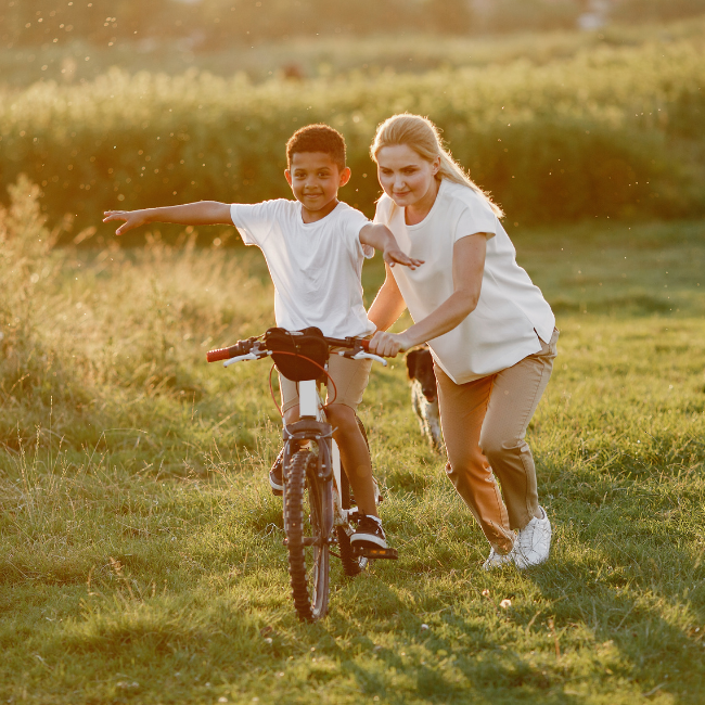 HC mom and son on bike